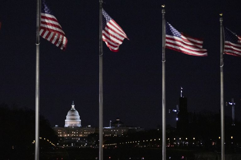 Four American flags flying with the Capitol building in the background