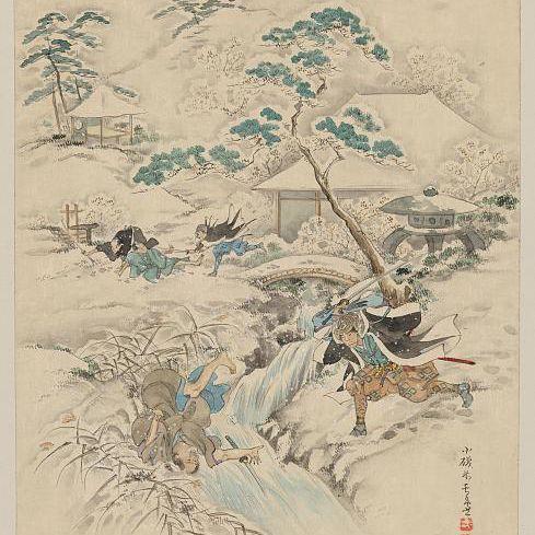 Samurai Warriors Attacking Japanese Villagers, c. 1750-1850