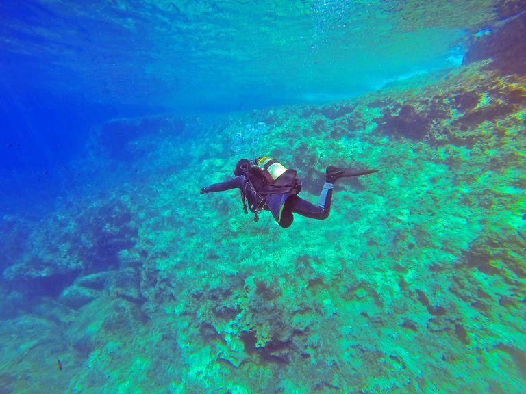 Scuba diver under the water.