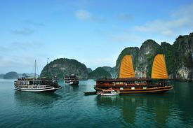 View of boats in Halong Bay, Vietnam