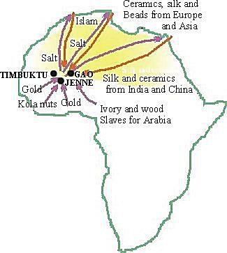 Between the 11th and 15th centuries West Africa exported goods across the Sahara Desert to Europe