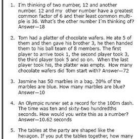 6th-Grade Math Word Problems