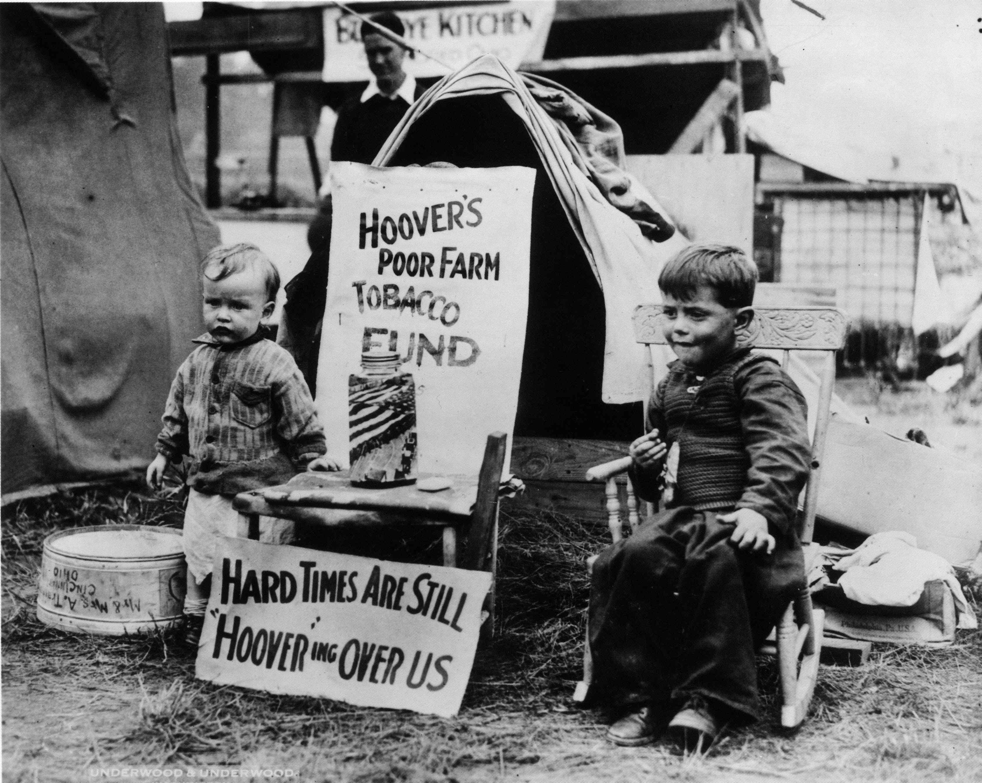 Two young residents at a Hooverville shantytown in Washington DC.