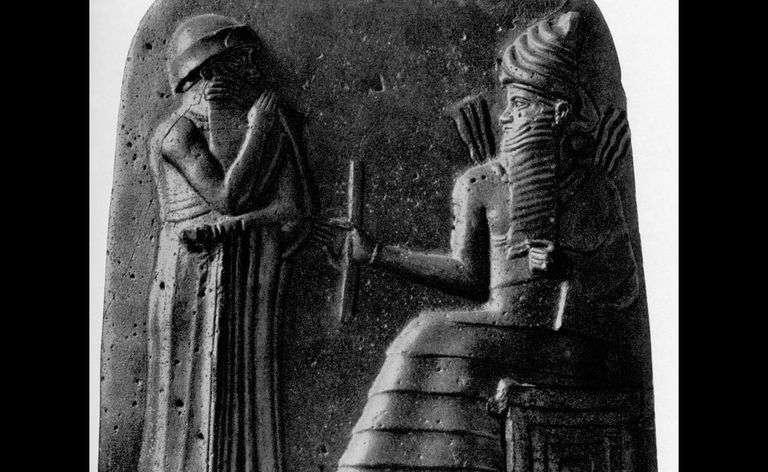 Carving showing Hammurabi receiving the laws from the god of justice