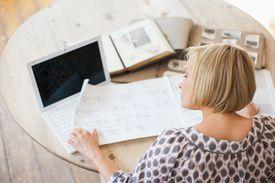Woman doing genealogy research