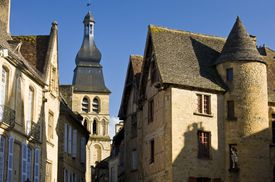 Small Medieval French towns like Sarlat east of Bordeaux, often have a mix of historic architectural styles