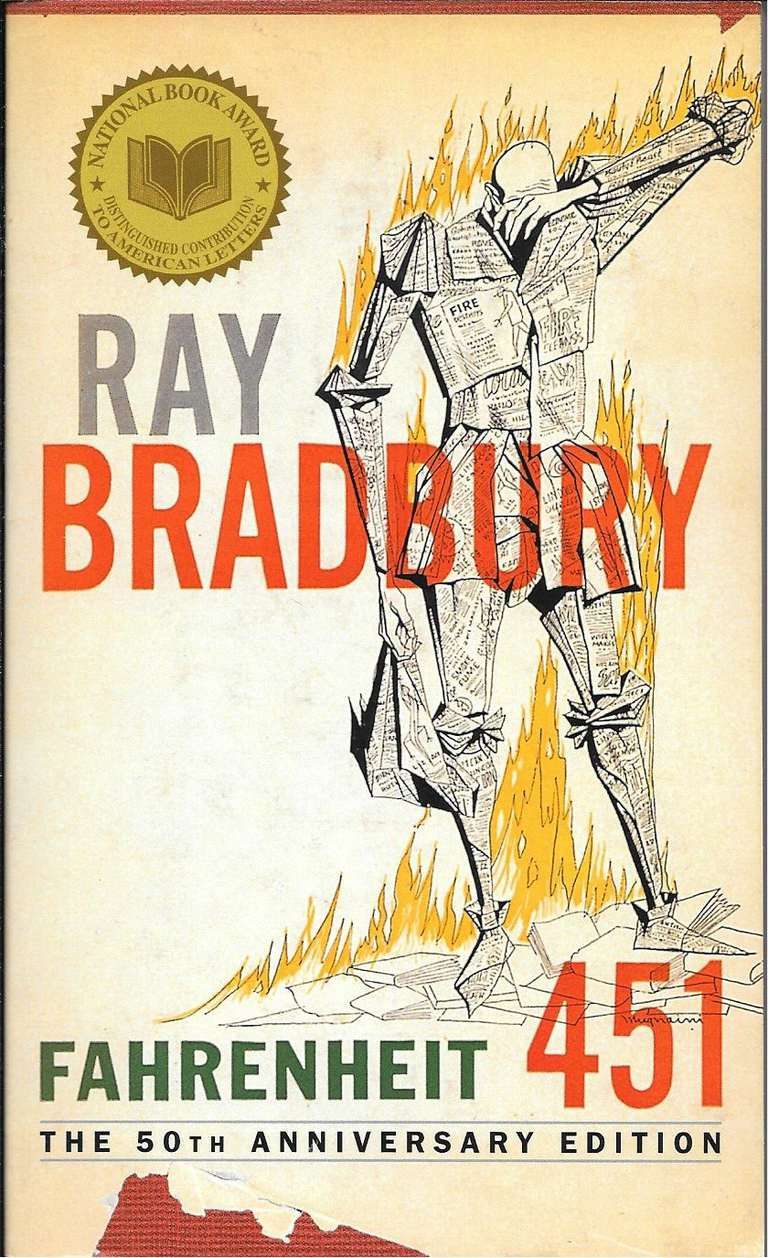 Cover of the 50th anniversary edition of Fahrenheit 451