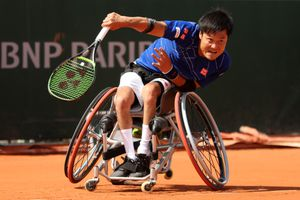 Shingo Kunieda of Japan competes in the mens singles wheelchair first round match against Stefan Olsson of Sweden