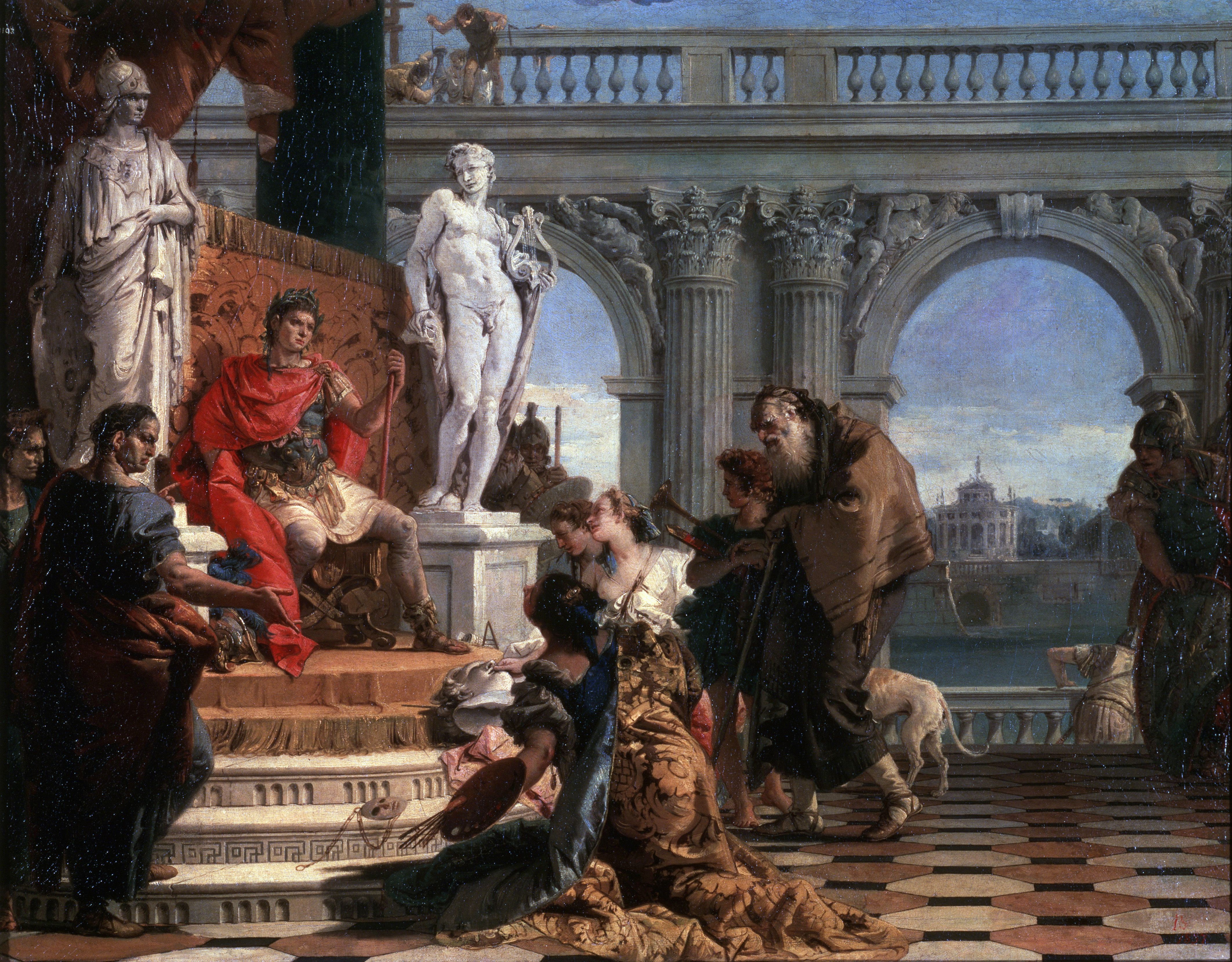 The painting 'Maecenas presenting the Arts to Augustus' by Giovanni Battista Tiepolo