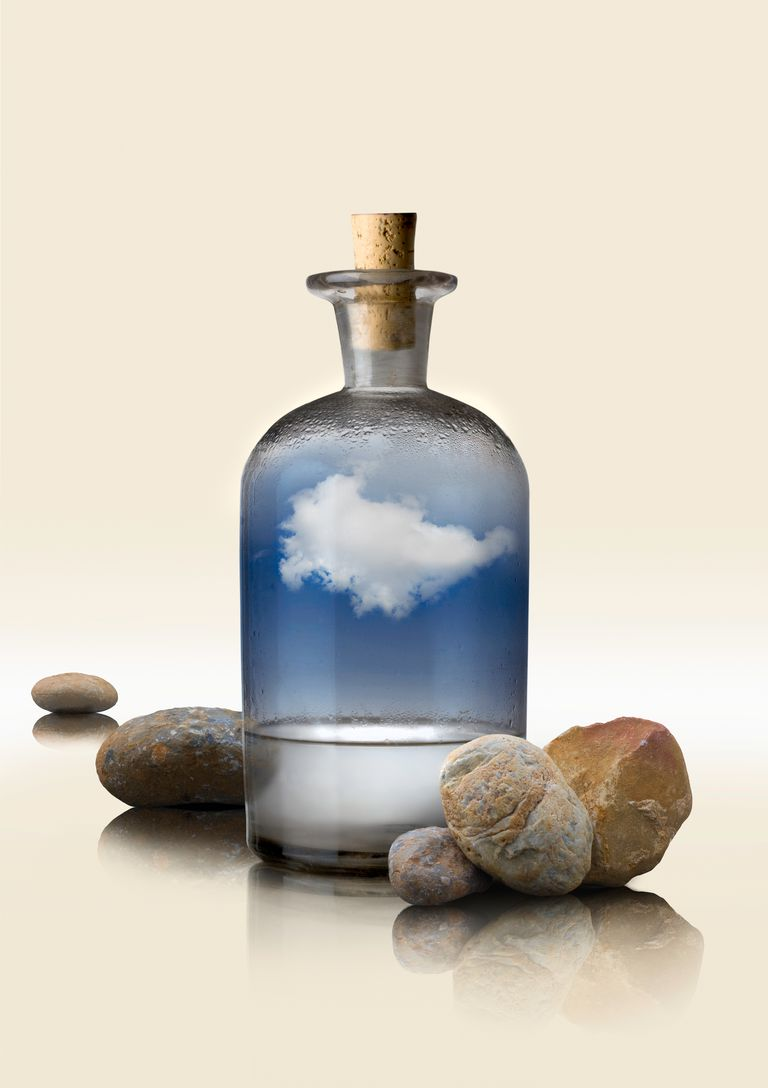 You can make your own cloud in a bottle using a bottle, some warm water, and a match.