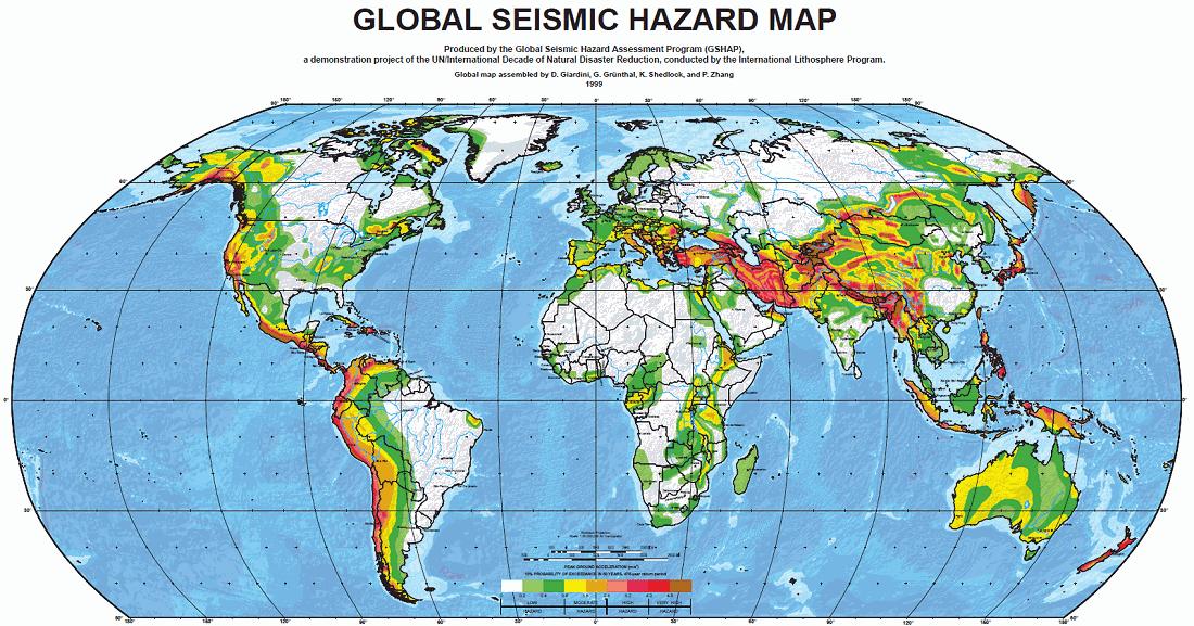 Global seismic hazard map of the world