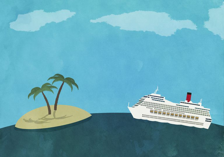Cruise ship and desert island illustration