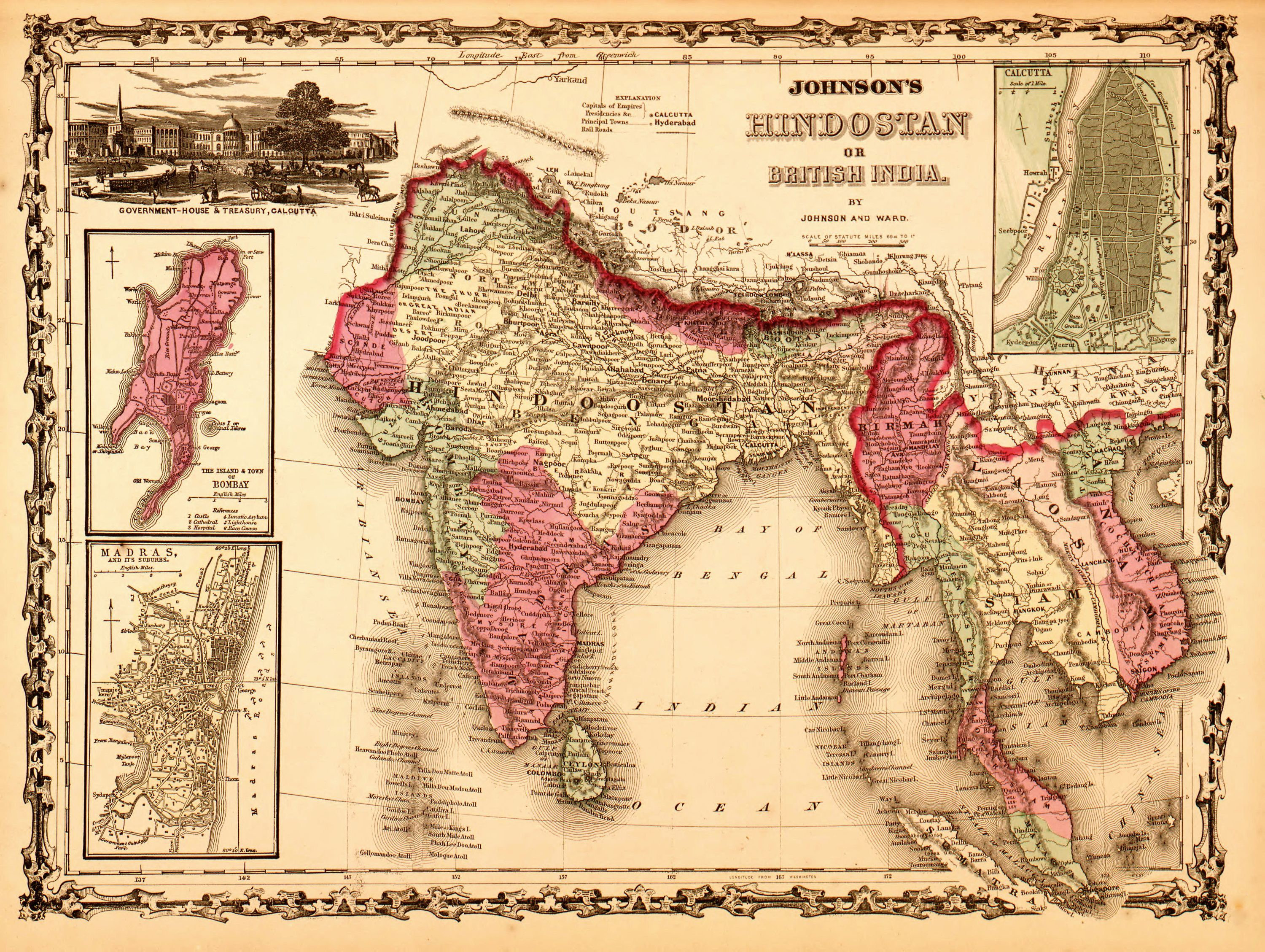 British Empire Throughout the World historic Great Britain map 1862 art poster