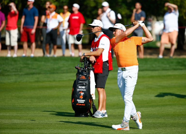 Rickie Fowler uses his driver from the fairway during the 2016 Abu Dhabi HSBC Golf Championship