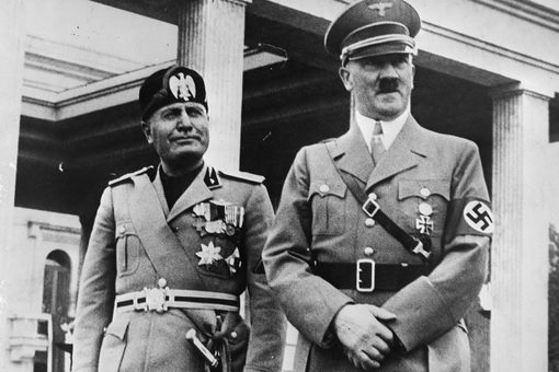 Benito Mussolini and Adolf Hitler in Munich, Germany September 1937.