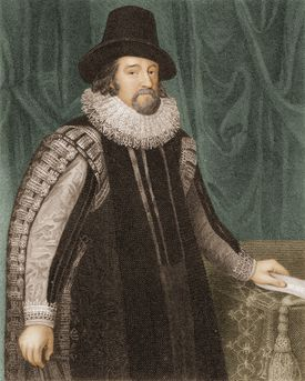 Colored engraving of Francis Bacon