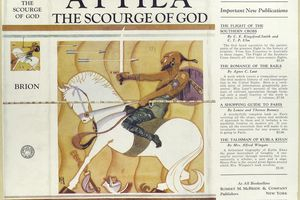 Collection of book jackets cover showing Attila the Scourge of God.