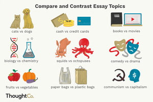 Nine compare and contrast essay topics, from types of animals to modes of currency