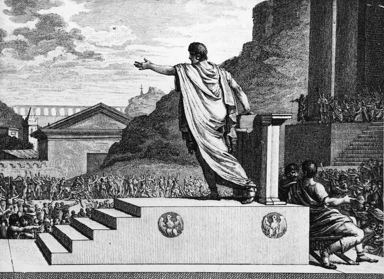 Illustration of Gracchus speaking to crowd after being elected to Roman Tribune.