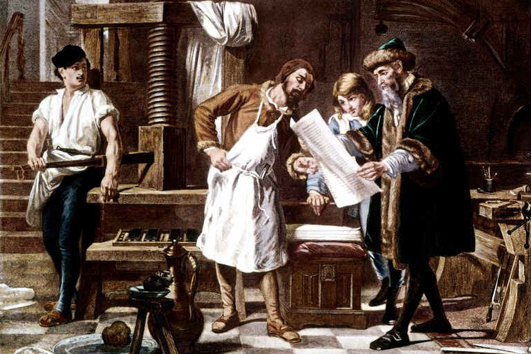 Gutenberg showing the first proof of a bible printed on his moveable-type printing press