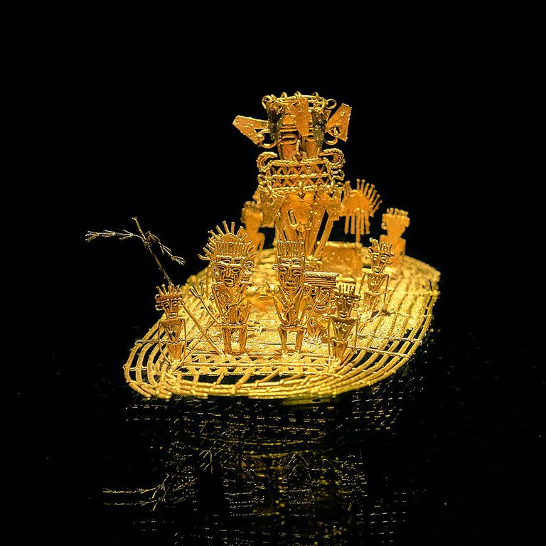 A depiction in gold of the King with his body covered in gold dust
