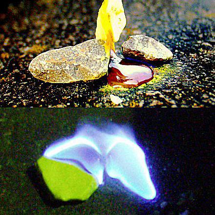 Elemental sulfur melts from a yellow solid into a blood-red liquid. It burns with a blue flame.