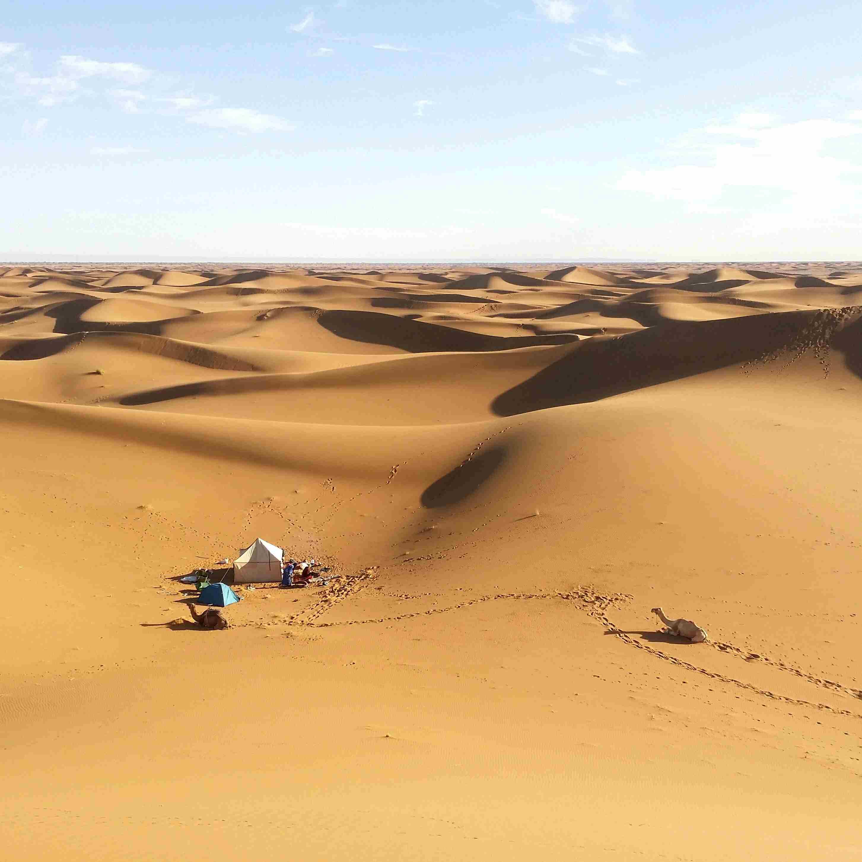 Aerial view of campsite in desert.
