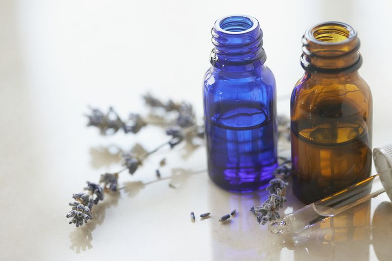 Essential oils and lavender flowers