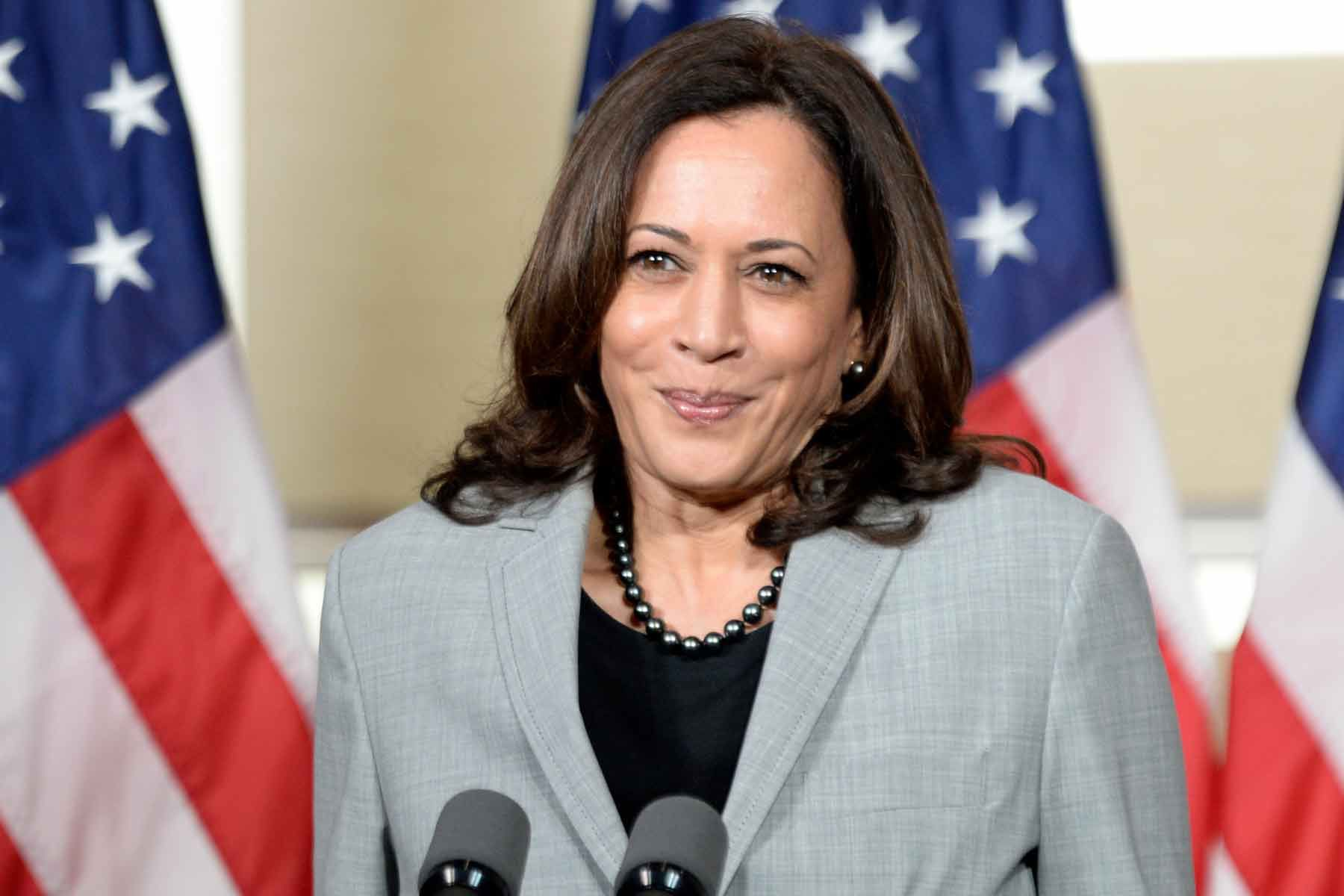 kamala harris smiles and stands at a microphone