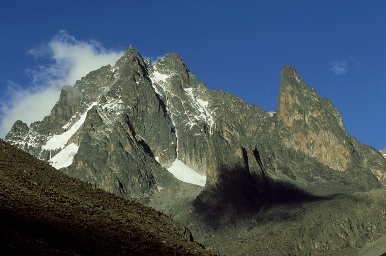 Mount Kenya, second highest mountain in Africa, is a rugged mountain with glaciers and rock walls.