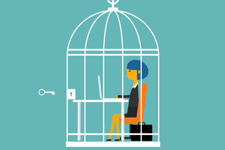 Illustration of a business woman in a birdcage