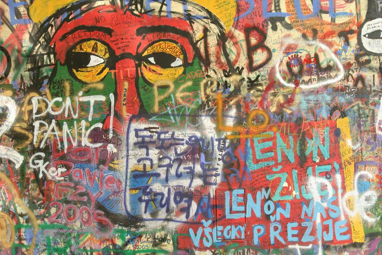 Colorful graffiti on the John Lennon Wall in Prague