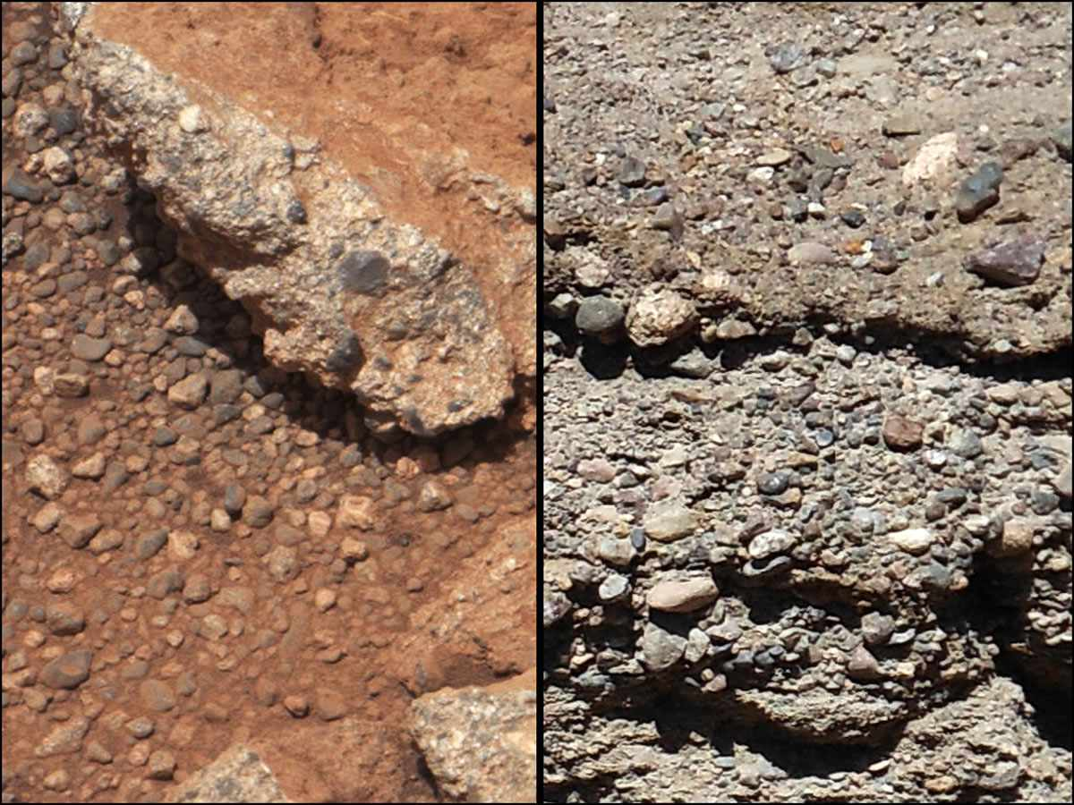 Conglomerate rock on Mars (left) compared with conglomerate on Earth (right).