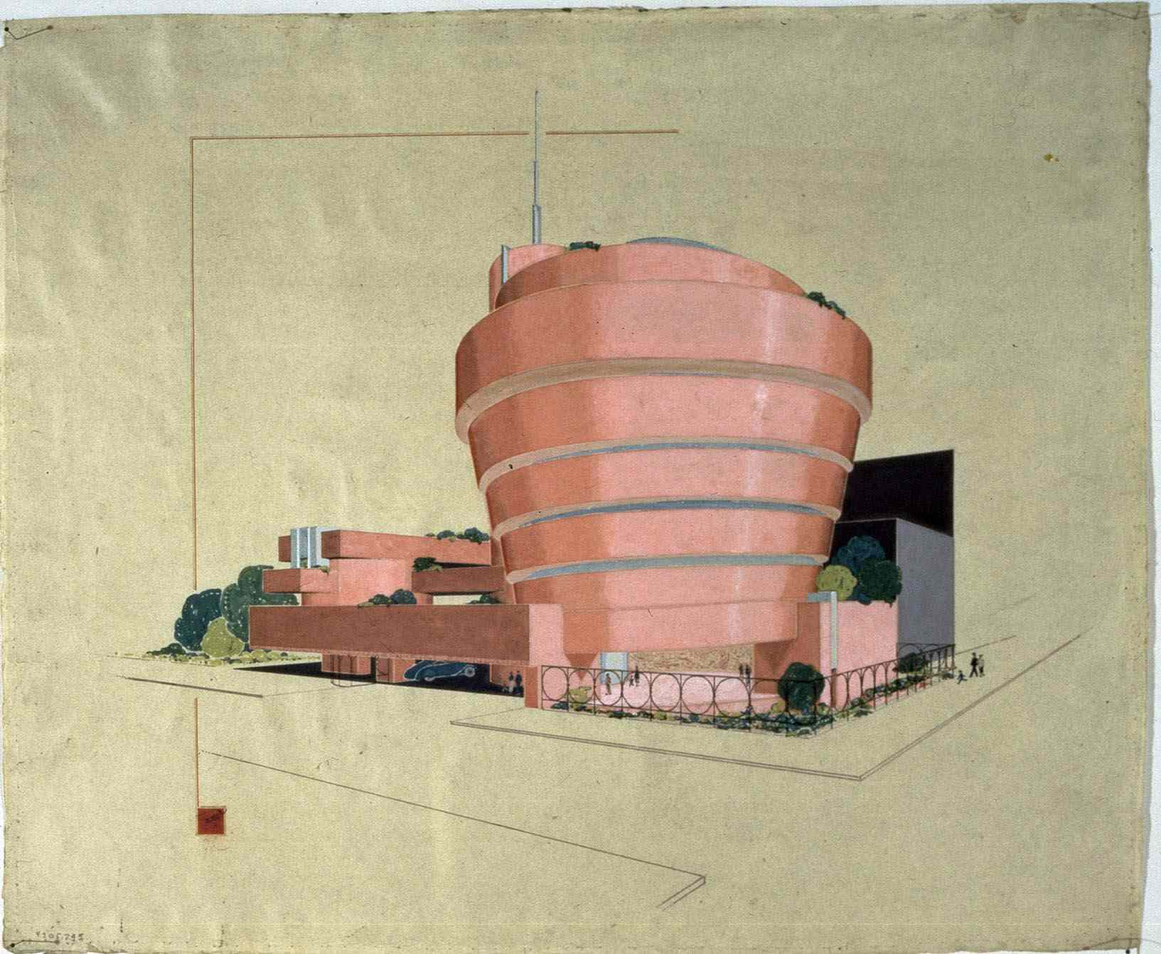 The Solomon R. Guggenheim Museum rendered in ink and pencil on tracing paper, by Frank Lloyd Wright