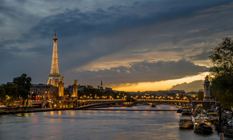 Paris, France at dusk