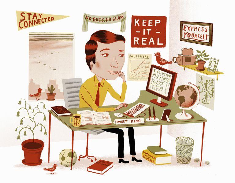 Blogger at desk illustration