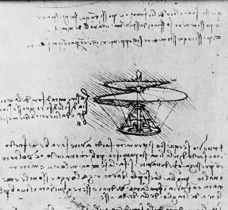 A design for a 'helical air screw' - a helicopter-type flying machine, from the notebooks of Italian polymath Leonardo da Vinci (1452 - 1519), 1480. Leonardo wrote in a shorthand of his own devising and, if, as here, the text was not intended for others ro read, used mirror writing.