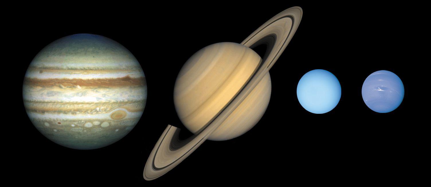 the jovian worlds of jupiter, saturn, uranus, and neptune