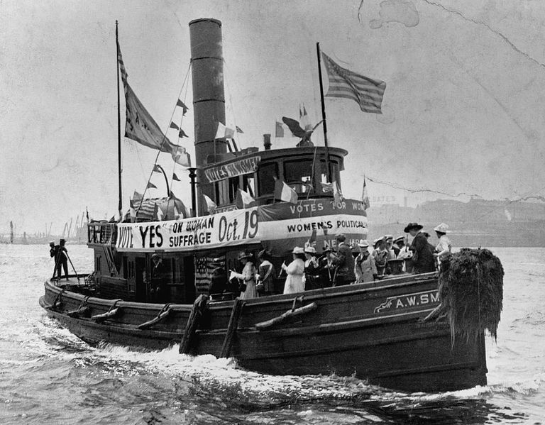 The Women of the Women's Policy Union of New York State heading to New Jersey on a rented Tugboat to encourage voting rights for women