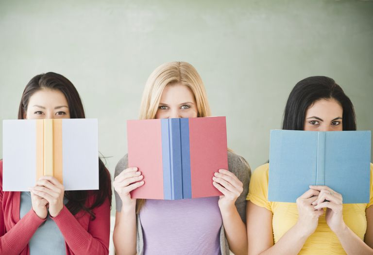 girls behind books