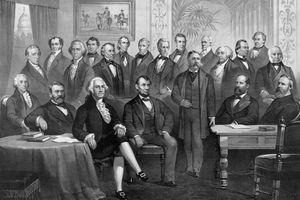 Vintage print of the first twenty-one Presidents seated together in The White House.