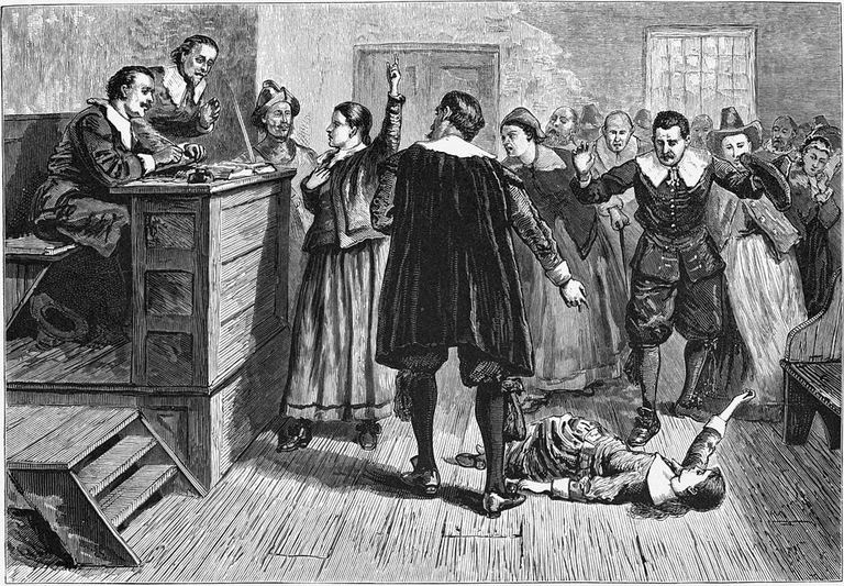 Depiction of a witchcraft trial in Salem Village
