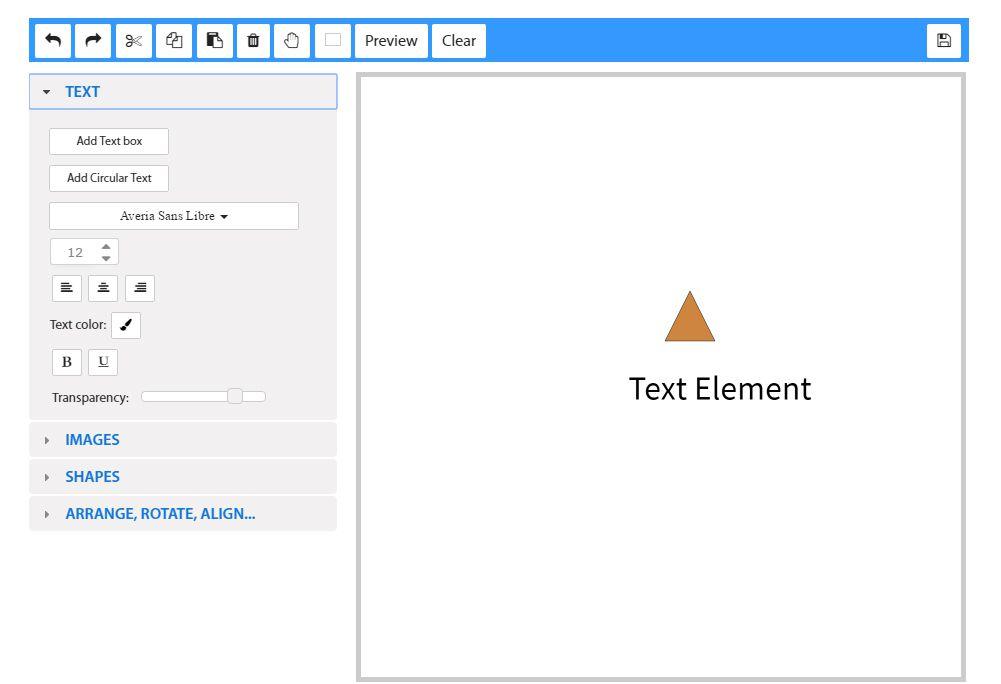 Screenshot of the work space at Free Logo Maker
