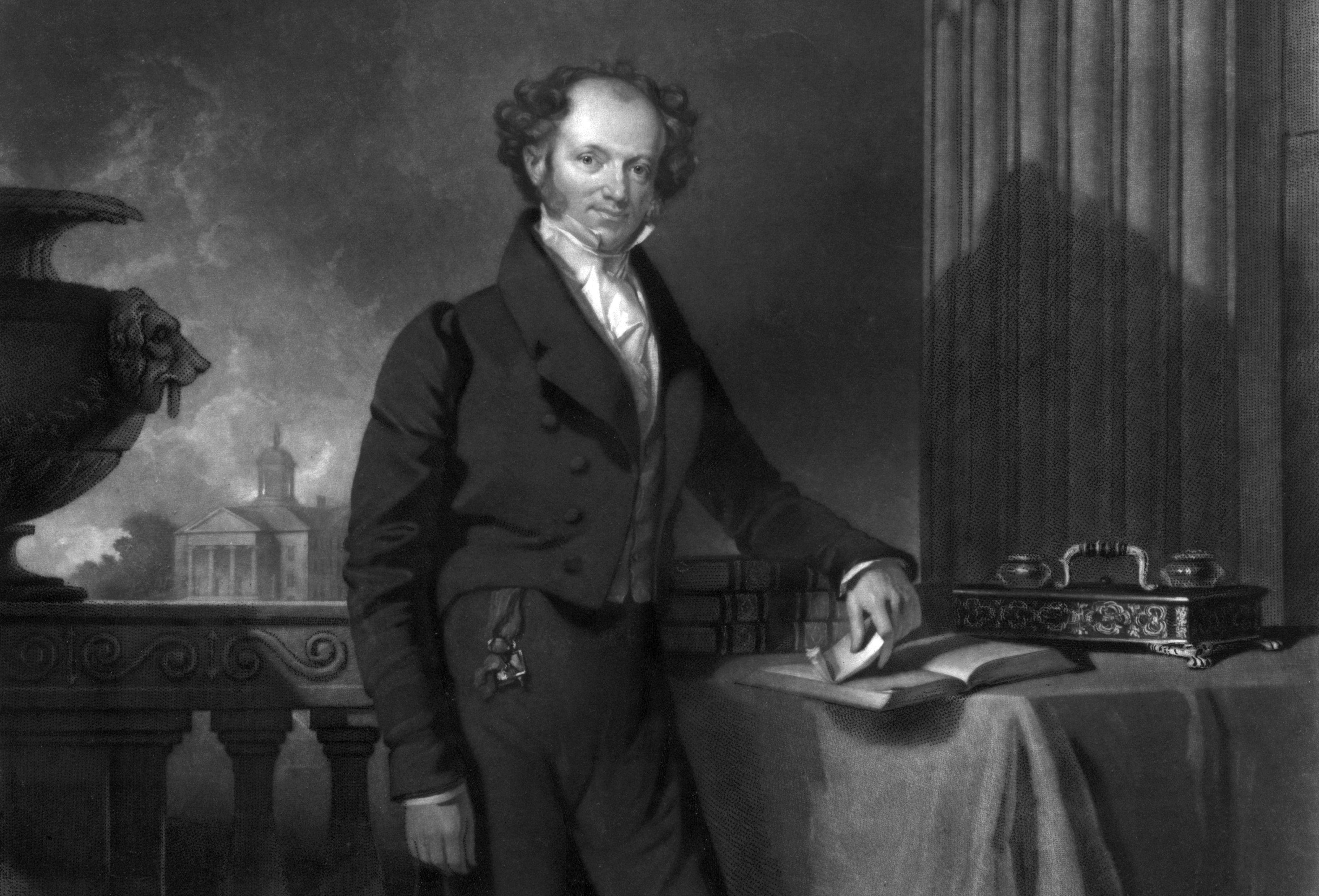 Engraving of Martin Van Buren as a young man standing on a balcony.