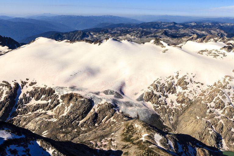 Aerial view of the Kokanee Glacier and Kokanee Glacier Provincial Park.