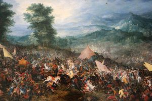 Painting depicting the Battle of Gaugamela.