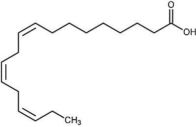 This is the chemical structure of alpha-linolenic acid.