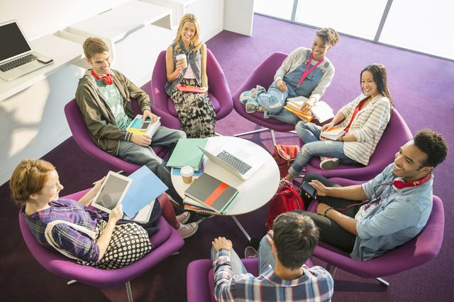 Students sitting in a group and talking