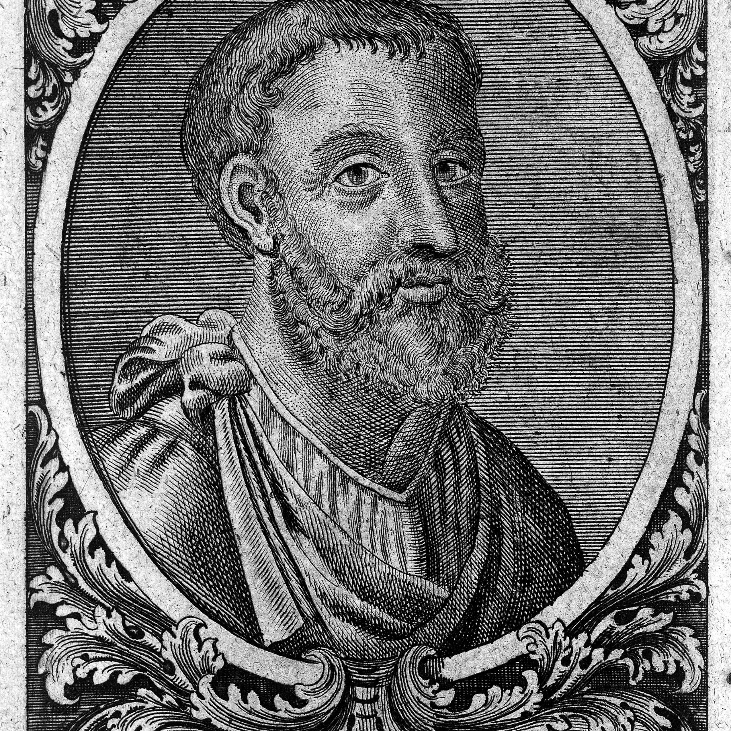 Engraving: 'portrait' of Galen, head and shoulders;