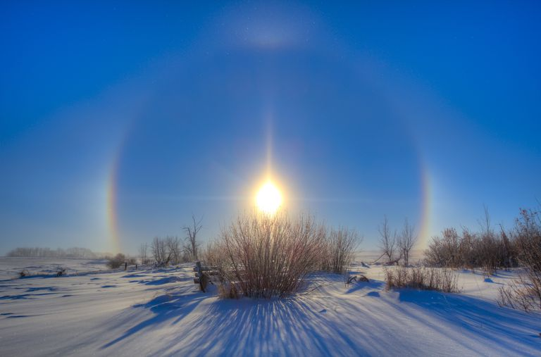 High dynamic range photo of sundogs and a solar halo around the Sun.